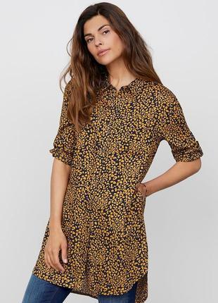 Штапельное платье-рубашка туника в леопардовый принт животный
