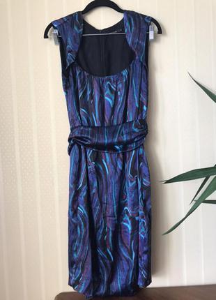Синее яркое коктейльное платье-футляр