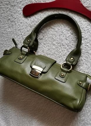 Винтажная кожаная сумка багет tommy & kate зелёная сумка