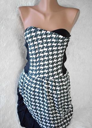 Платье италия без брителей принт гусинная лапка . необычный крой