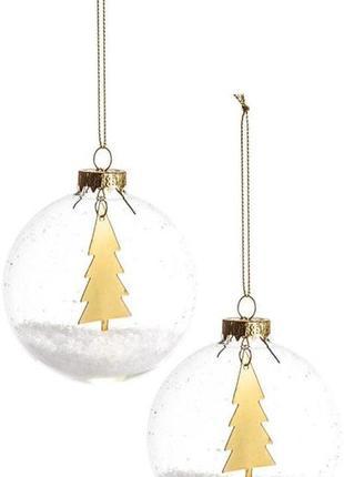 Елочные игрушки h&m home из прозрачного стекла, наполненные искусственным снегом