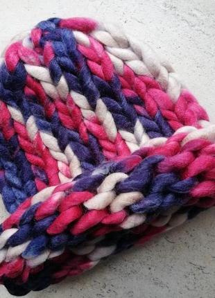 Шапка крупной вязки, вязаная шапка, разноцветная, розовий, синий