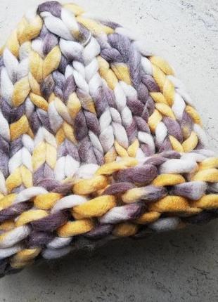 Шапка крупной вязки, вязаная шапка, коричневий, жовтий
