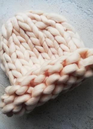 Шапка крупной вязки, вязаная шапка, бежевая, кремовая, персиковая