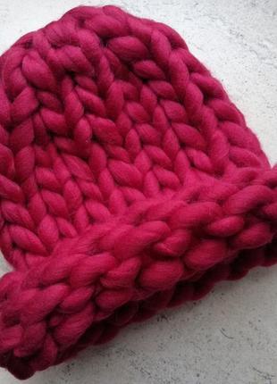 Шапка крупной вязки, вязаная шапка, бордо