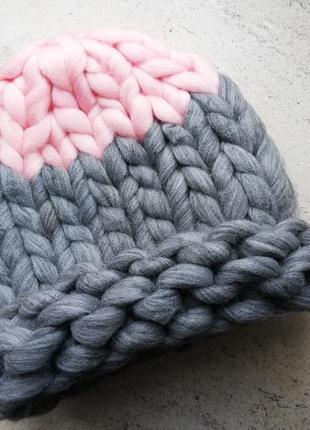 Шапка крупной вязки, вязаная шапка, серый, розовый, розово-серая
