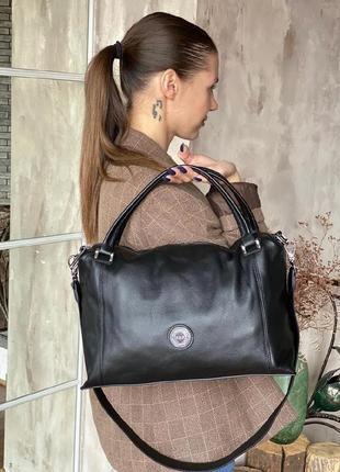 Женская кожаная черная сумка polina&eiterou