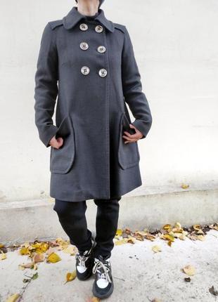 Минималистичное оверсайз пальто серое демисезонное трапеция zara
