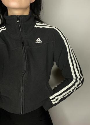 Флисовая кофта олимпийка adidas худи свитшот толстовка оригинал чёрная