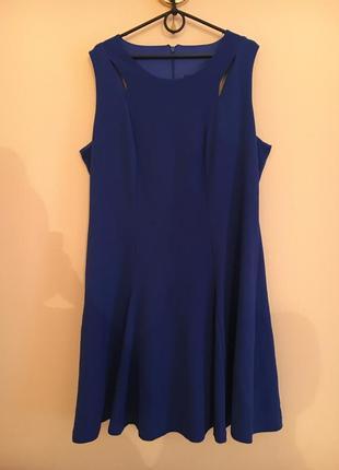Батал большой размер стильное синее  миди нарядное платье платьице плаття