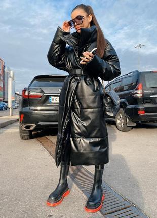 Куртка 42-48 экокожа с поясом удлиненная