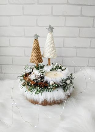 Новорічний підсвічник різдвяний бежевий новогодний подсвечник декор