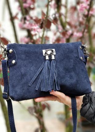 Замшевый темно-синий клатч tianna италия, разные цвета