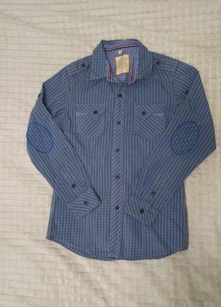 Рубашка в клетку с длинным рукавом, на мальчика подростка 12-14 лет