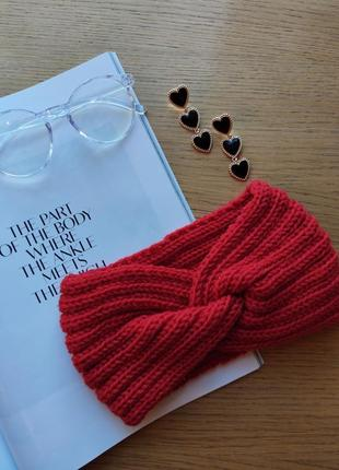 Повязка чалма теплая вязанная весна зима с узлом качественная новая красная