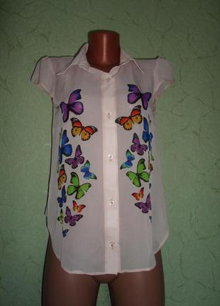 Блузка с бабочками,цвет пудра