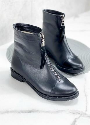 Женские ботинки черные на низком ходу натуральная кожа poka 1-1