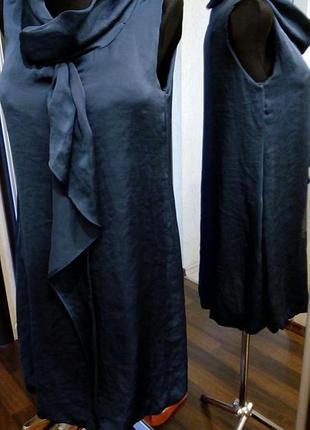 Распродажа в связи с отъездом синее платье баллон с галстуком и карманами