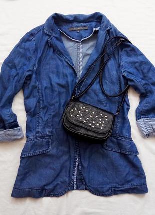 Крутой джинсовый пиджак, р-р xs-s жакет, джинсовая куртка, болеро, кардиган, жилет