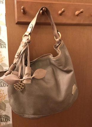 Кожаная вместительная сумка хобо dumond
