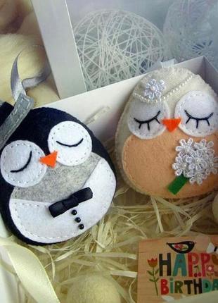 """Новогодний набор игрушек """"пингвинчики"""" в подарочной коробке."""