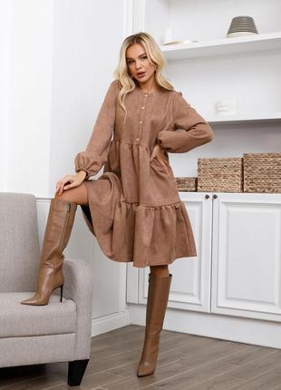 Свободное замшевое платье с воланами, размер s, m, l, xl