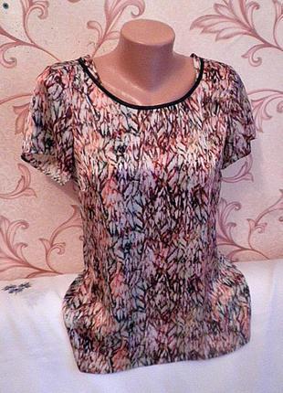 Шикарная блузка с кожаной отделкой  expresso