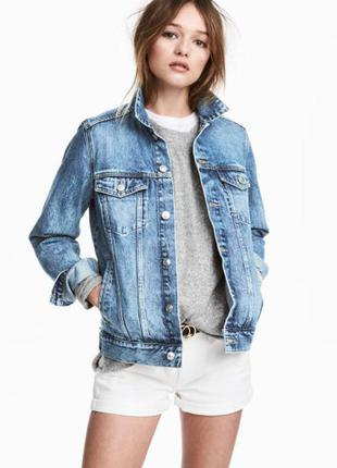H&m джинсовая куртка модель 2017-2018 новая 46-48-50р. хит!
