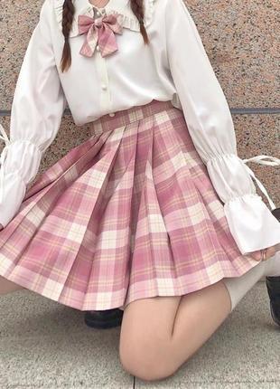 Юбка в клетку юбка плиссе юбка в складку аниме панк