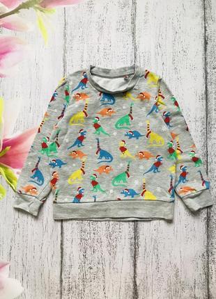 Крутая кофта новогодний свитер свитшот новый год динозавр lily&dan 5-6лет