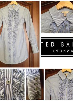 Новое брендовое оригинальное платье-рубашка ted baker xs/6/34-s/8/36 100% коттон