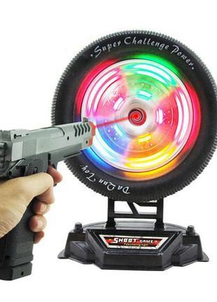 Тир с лазерным пистолетом, игровая мишень колесо (свет, звук)