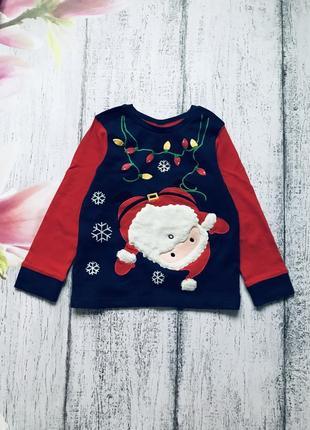 Крутая кофта реглан новогодний свитер новый год санта дед мороз mini club 2-3года