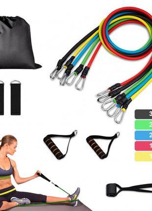 Набір трубчастих фітнес резинок еспандерів для фітнесу power bands резинки для фитнеса