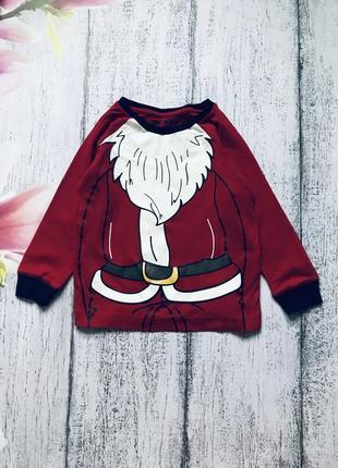 Крутая кофта реглан новогодний свитер новый год санта дед мороз matalan 2-3года