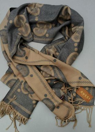 Gucci шарф женский кашемировый теплый серо бежевый шерсть