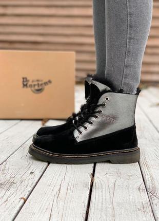 Женские ботинки dr.martens black/silver fur (мех)