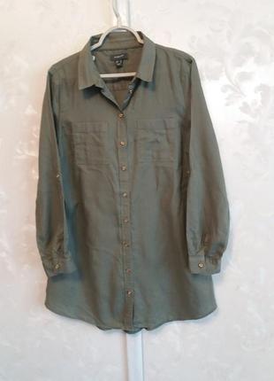 Хлопковое платье-рубашка с золотистыми пуговицами1 фото