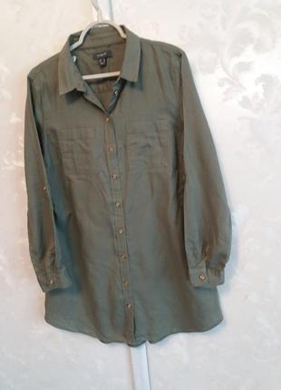 Хлопковое платье-рубашка с золотистыми пуговицами2 фото