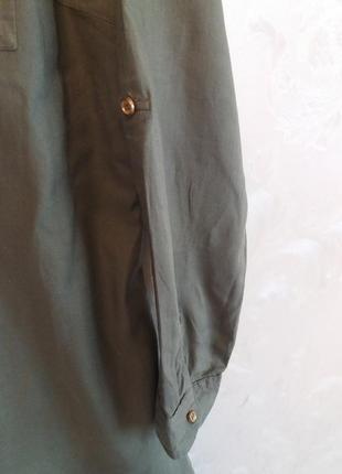 Хлопковое платье-рубашка с золотистыми пуговицами4 фото