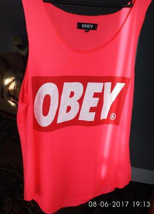 Майка фирменная obey ярко розовая