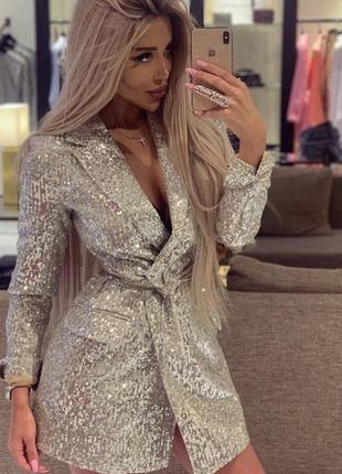 Платье пайетка блестящее пиджак смокинг