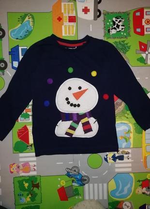 Реглан, новогодний, рождественский реглан, реглан с снеговиком, снеговик, с пампонами