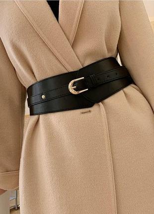 Ремень женский широкий эко-кожаный черный массивный ремень-корсет
