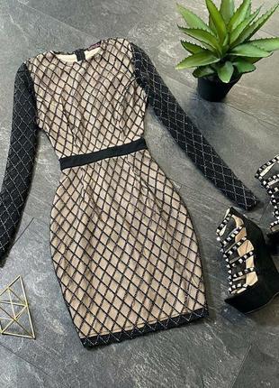 Облегающее блестящее вечернее мини платье сетка с блестками на подкладке