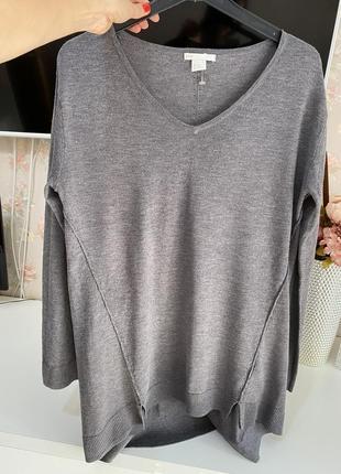 Базовый серый удлиненный джемпер пуловер h&m
