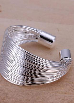 Кольцо жгутик покрытие серебром 925 пробы размер универсальный