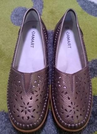 Туфли балетки мокасини damart кожа р. 40 ст. 26,5 см.
