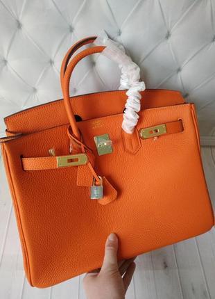 Сумка оранжевая кожаная в стиле hermes birkin⚜️