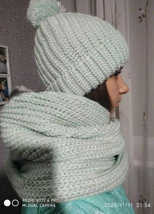 Шикарный теплый комплект шарф -снуд  + шапка xs s m